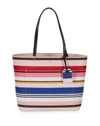 kate spade new york | Red Harding Street Stripe Small Riley Tote | Lyst