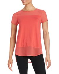 Vince Camuto | Red Mixed Media Top | Lyst