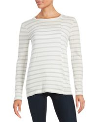 DKNY | White Striped Knit Top | Lyst