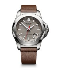 Victorinox | Brown Inox Stainless Steel & Leather Textured Dial Strap Watch | Lyst