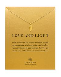Dogeared | Metallic Reminder 14k Gold Dipped Guardian Angel Wing Charm Necklace | Lyst