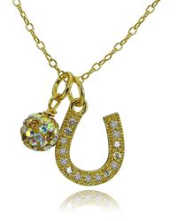 Lord & Taylor - Metallic Horseshoe And Fireball Pendant Necklace - Lyst