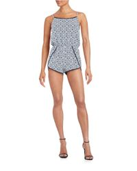 Lord & Taylor | Blue Crochet-trimmed Romper | Lyst