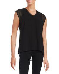 Calvin Klein | Black Chiffon-overlay Blouse | Lyst