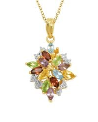 Lord & Taylor | Multicolor Multi-stone Cluster Pendant Necklace | Lyst