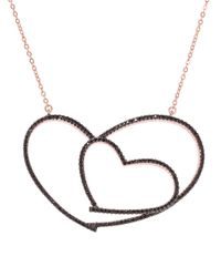 Lord & Taylor | Black Cubic Zirconia Open Heart Pendant Necklace | Lyst