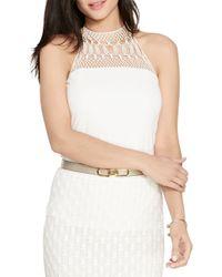Lauren by Ralph Lauren | White Crocheted-yoke Halter Top | Lyst