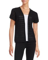 Lord & Taylor | Black Open Front Knit Cardigan | Lyst