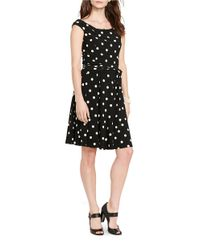 Lauren by Ralph Lauren - Black Petite Polka Dot Print Dress - Lyst