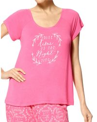 Hue | Pink Right Time Sleep Tee | Lyst