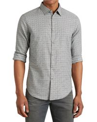 John Varvatos | Gray Checked Button-front Sportshirt for Men | Lyst