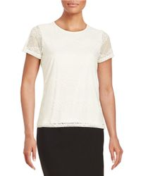Calvin Klein | Natural Short-sleeve Lace Top | Lyst