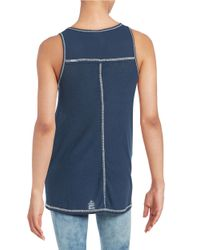 Others Follow Blue Ribbed Tank Top