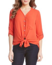 Karen Kane | Orange Button-front Woven Crepe Blouse | Lyst