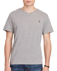 Polo Ralph Lauren | Gray Cotton Jersey V-neck Tee for Men | Lyst