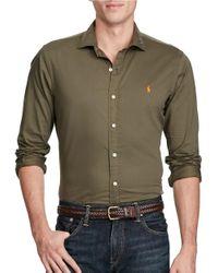 Polo Ralph Lauren | Green Cotton Twill Shirt for Men | Lyst