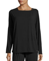 Calvin Klein | Black Lace-trim Long-sleeve Pajama Top | Lyst