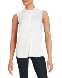 Calvin Klein | White Pleated Button-front Shirt | Lyst