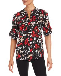 Calvin Klein | Red Printed Button-front Shirt | Lyst