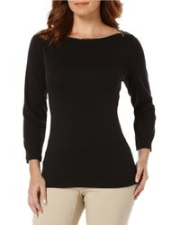 Rafaella - Black Petite Boatneck Basic Top - Lyst