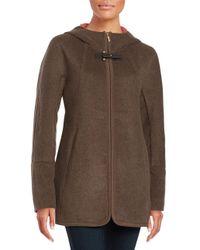 Ellen Tracy   Brown Hooded Wool-blend Coat   Lyst