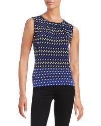 Calvin Klein | Blue Pintucked Print Shell | Lyst