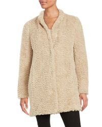 Kenneth Cole | Natural Faux Fur Button-front Coat | Lyst