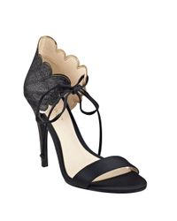 Nine West | Black Carly Scalloped Dress Sandals | Lyst