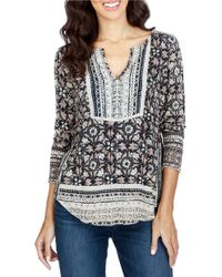 Lucky Brand | Black Trendy Plus Size Floral-print Peasant Top | Lyst