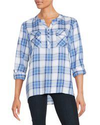Kensie   Blue Plaid Knit Shirt   Lyst