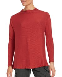 Free People | Red Striped Knit Sweater | Lyst