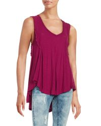 Free People | Pink Ruffled Tank Top | Lyst