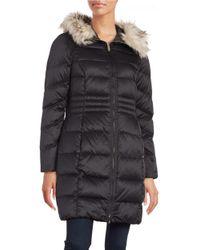 Eliza J | Black Faux Fur Trim Puffer Coat | Lyst