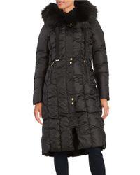 Via Spiga | Black Faux Fur-trimmed Down Coat | Lyst