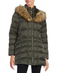 Betsey Johnson | Green Faux Fur-trimmed Hooded Mid Length Puffer Coat | Lyst