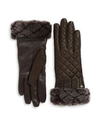UGG | Brown Shearling And Quilted Leather Smart Gloves | Lyst