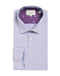 Ted Baker | Purple Checked Dress Shirt for Men | Lyst
