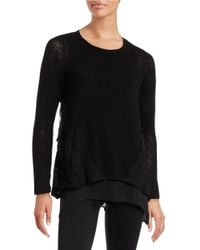 Lord & Taylor | Black Lace-trimmed Layered Top | Lyst