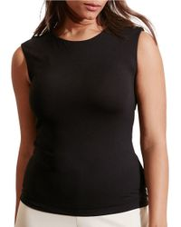 Lauren by Ralph Lauren | Black Plus Cutout-back Jersey Tee | Lyst