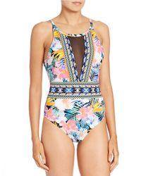 La Blanca | Blue Tropical Mesh-trim One-piece Swimsuit | Lyst