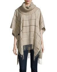 Lord & Taylor | Natural Plaid Knit Poncho | Lyst