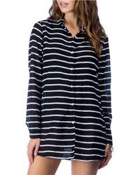 Lauren by Ralph Lauren | Black Striped Cotton Shirt | Lyst