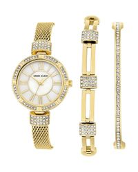 Anne Klein - Metallic Watch & Bangle Set - Lyst