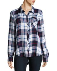 Beach Lunch Lounge | Blue Long Sleeve Plaid Shirt | Lyst