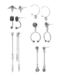 Steve Madden | Metallic Six Pair Hematite Silvertone Spikes, Open Hoops And Bars Earrings Set | Lyst