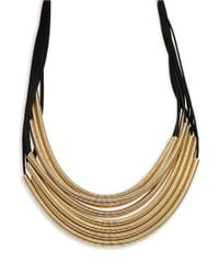 Panacea | Multicolor Leather And Tube Accented Tiered Necklace | Lyst