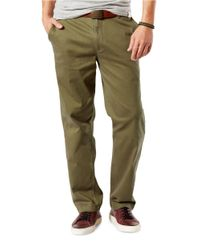 Dockers | Green Washed Khaki Classic Fit Flat Front Pants for Men | Lyst