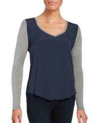 Calvin Klein | Blue V-neck Hi-lo Long-sleeve Top | Lyst