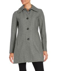 Anne Klein | Gray Wool-blend Button-front Coat | Lyst