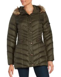 Andrew Marc | Green Plus Renee Faux Fur Trimmed Hooded Puffer Coat | Lyst